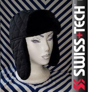 Black Faix Fur Lined Quilted Swiss Tech Winter Hat